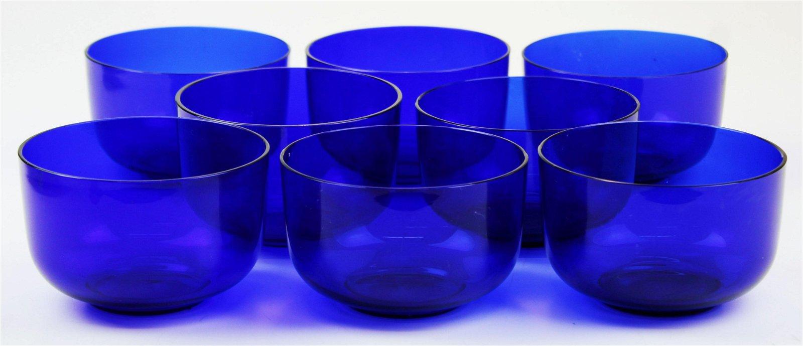 set of 8 blown cobalt blue glass fingerbowls