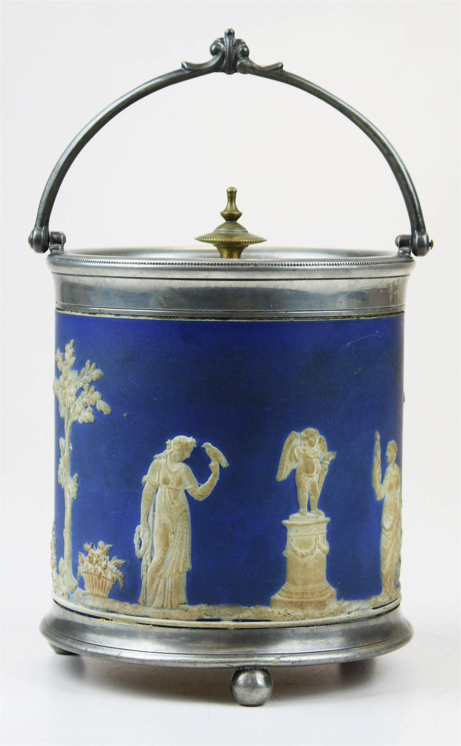 Wedgwood blue dip Jasperware biscuit jar