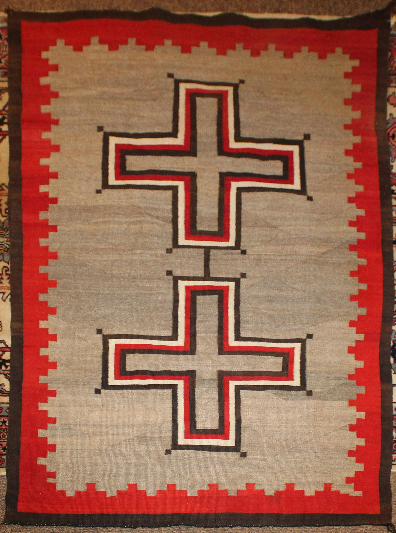 Navajo four color blanket with two crosses