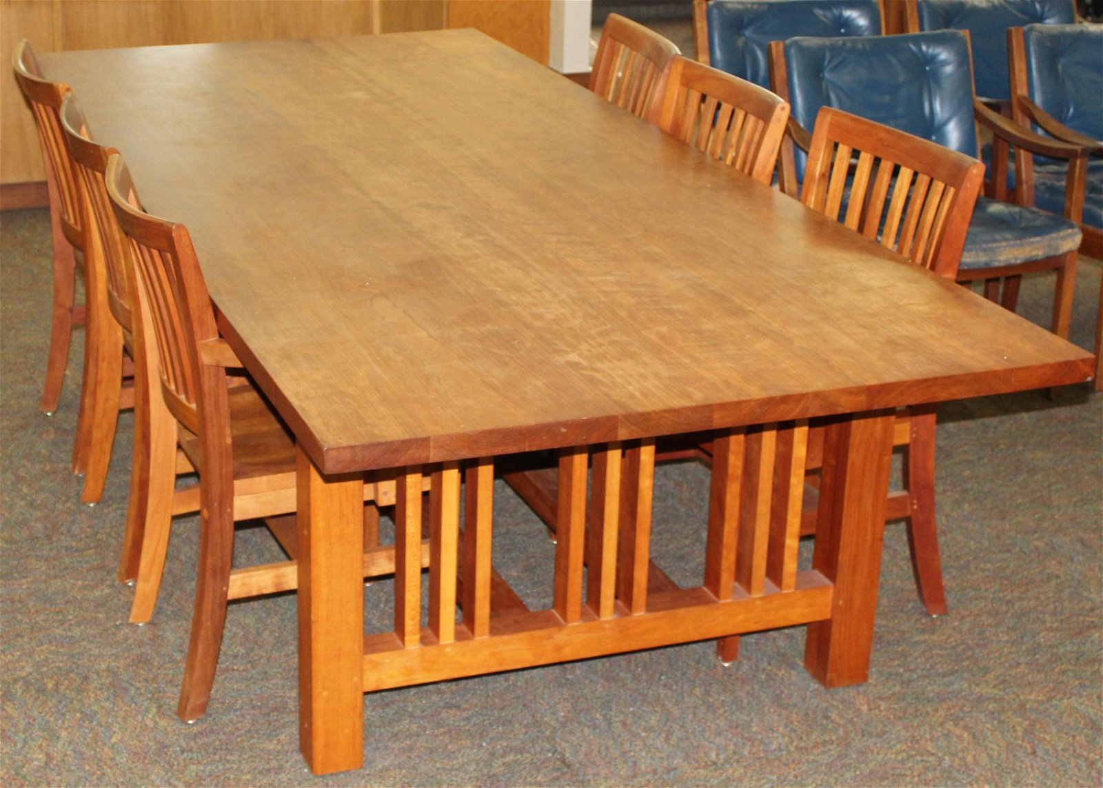 late 20th c Arts & Crafts style Cherry table w/ 6 chair