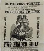 1869 Millie & Christine two headed girl broadside
