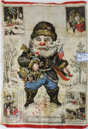 antique Santa Claus cloth banner