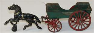 early cast iron & pressed steel horse drawn wagon