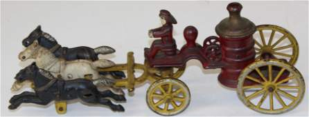 early cast iron horse drawn steam fire engine