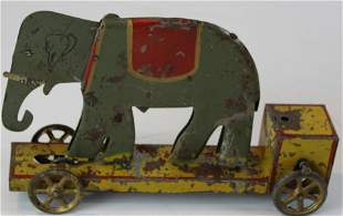 early pressed steel animated friction toy elephant