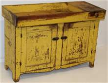 19th c New England dry sink in original yellow pt.