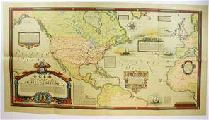 1928 Charles Lindbergh map of flights