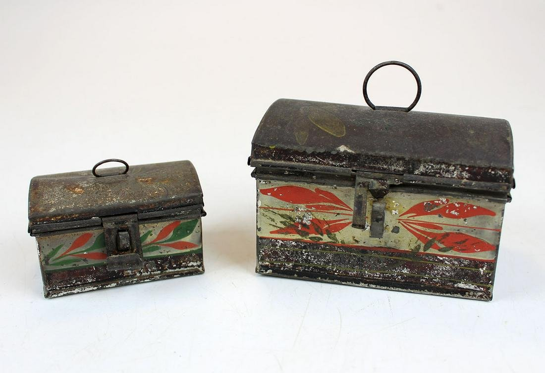 two early 19th c painted tin toleware boxes