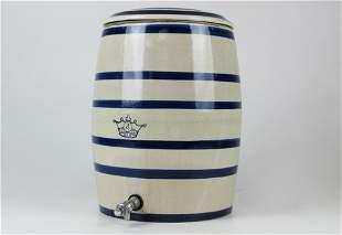 blue & white 4 gallon stoneware water cooler