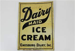vintage tin litho Dairy Maid Ice Cream sign