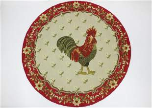 round hooked rug with rooster