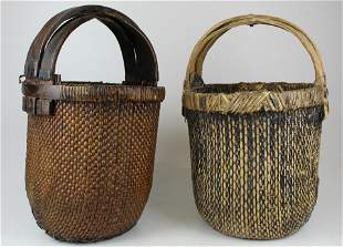 two large 19th c Chinese baskets