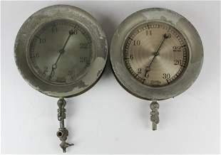 two Ashton Valve Boston steam pressure gauges