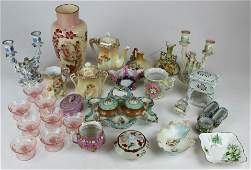 group of late Victorian porcelain and glassware