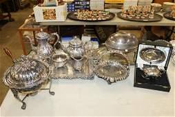 lot of ornate silver-plated hollowware incl. tea set