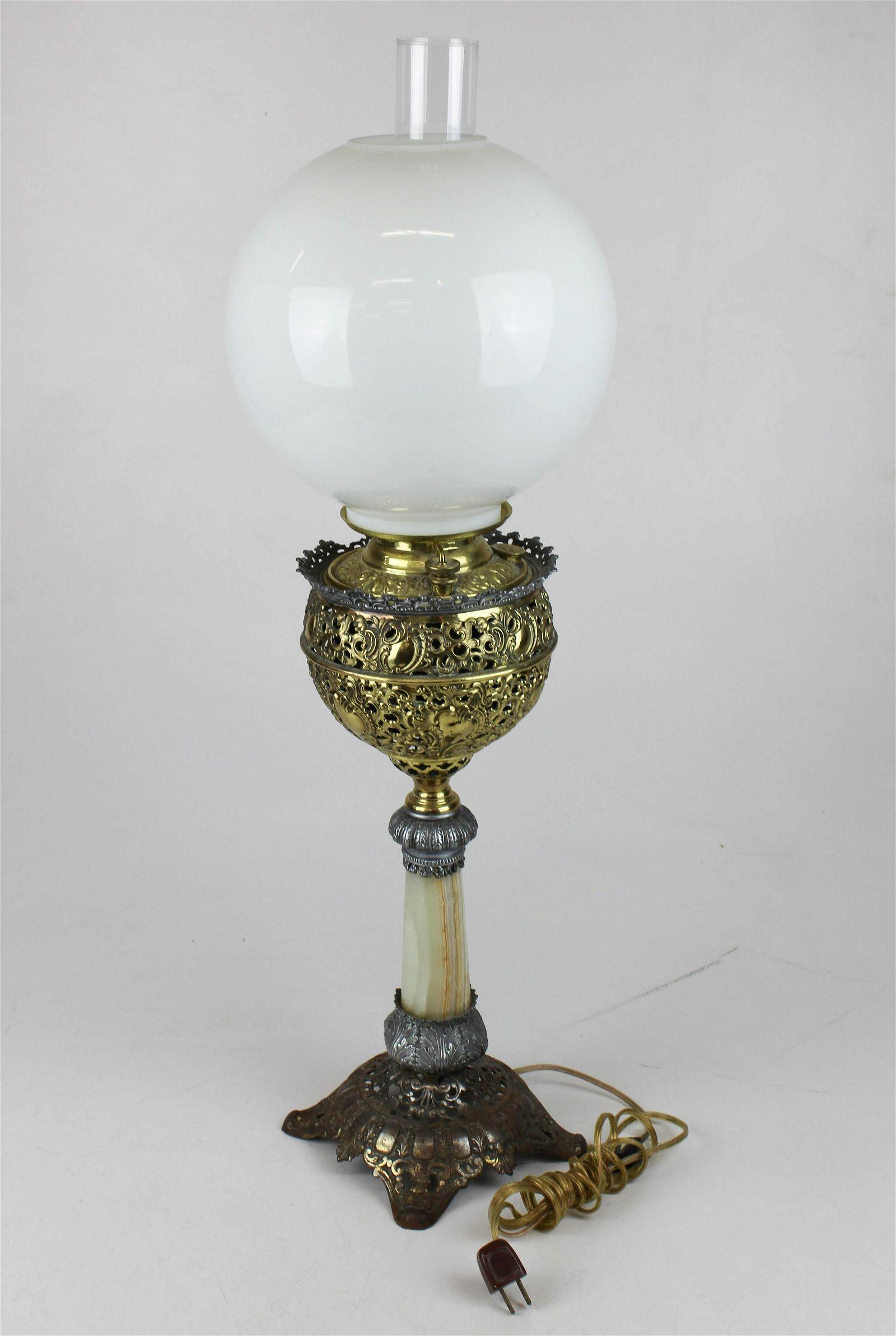 Victorian onyx base banquet parlor lamp