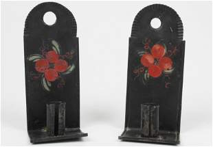 Early 19th c Painted Tin Miniature Candle Sconces
