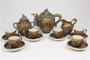 19th c Japanese Satsuma tea set with Imperial mon