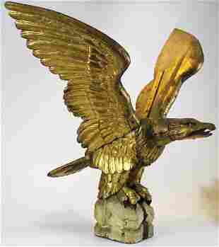 19th c Carved Wooden Pilot House Eagle