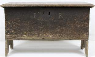 17th c New England chip carved six board box