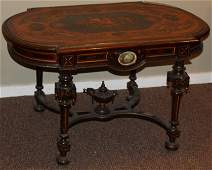 Fine NYC Victorian marquetry inlaid parlor table