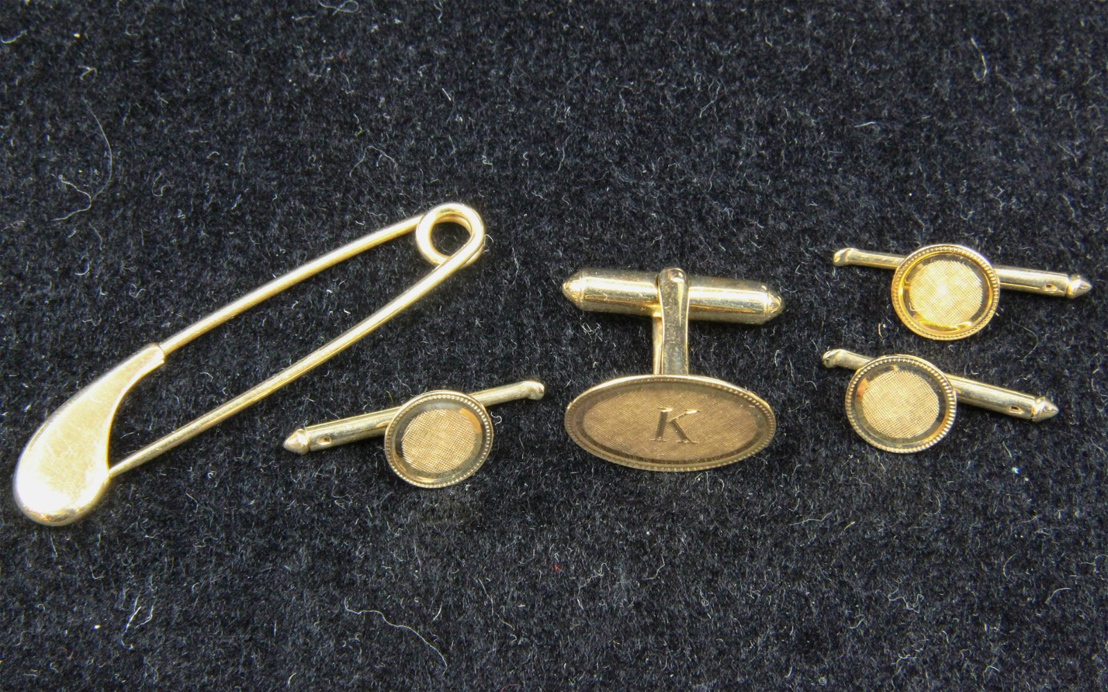 14k gold button set and safety pin