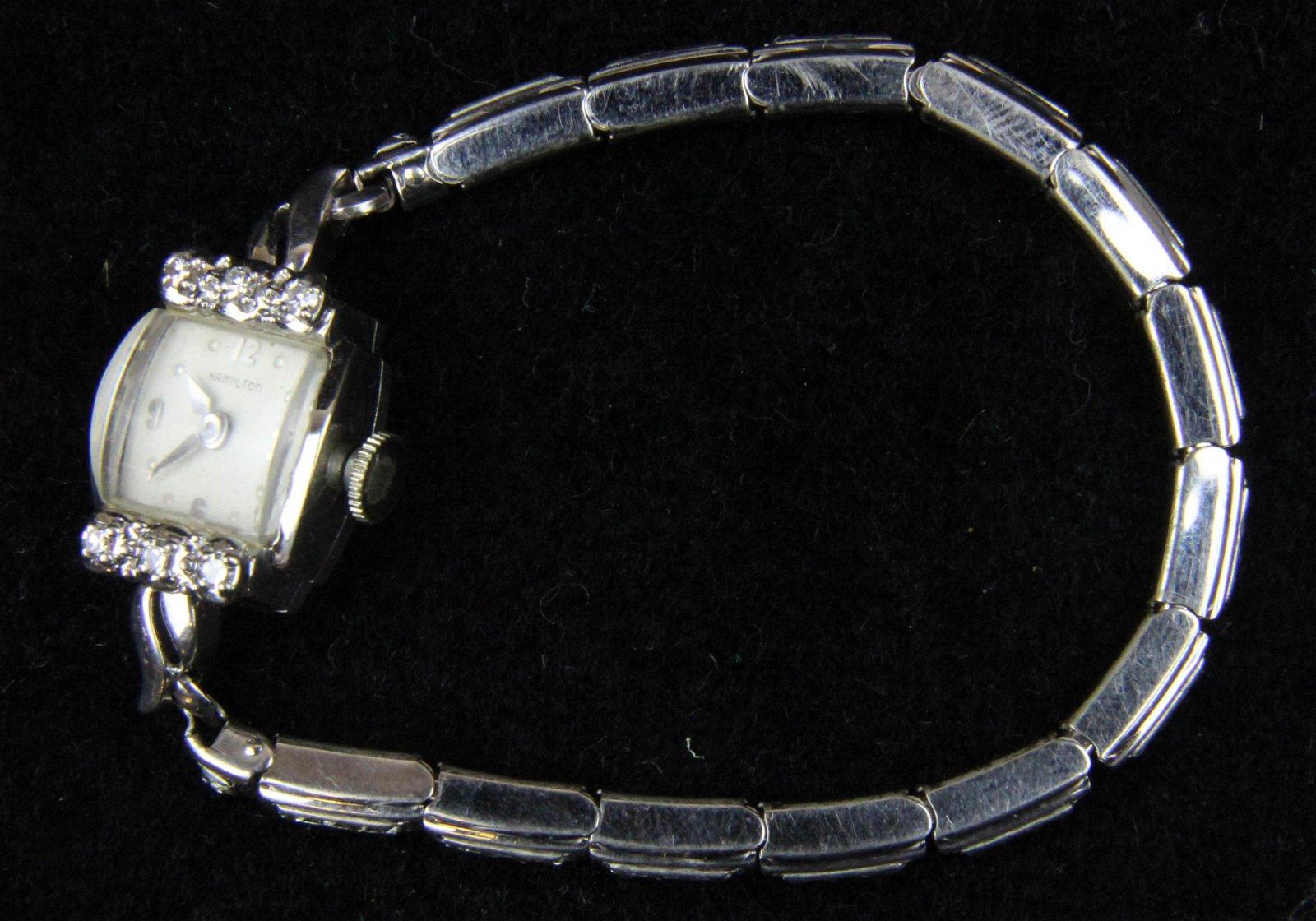 Ladies diamond & 14k Hamilton wrist watch