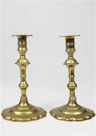 18th c Queen Anne Petal Base Brass Candlesticks