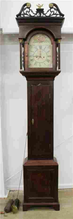 19th c English Brass Works Tall Case Clock