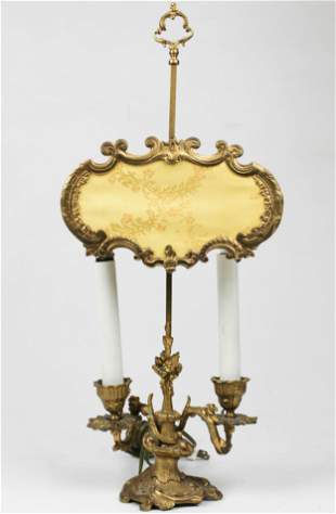 French Ormolu Twin Branch Candlestick Lamp