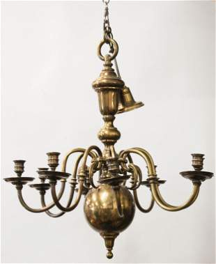 Mid 20th c Brass Chandelier