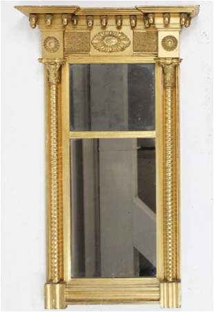 19th c Federal Split Panel Mirror