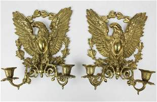 20th c Brass Eagle Candle Sconces