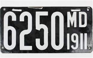 1911 Maryland Enamel License Plate