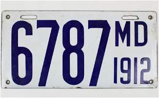 1912 Maryland Enamel License Plate