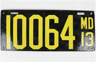 1913 Maryland Enamel License Plate