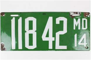 1914 Maryland Enamel License Plate