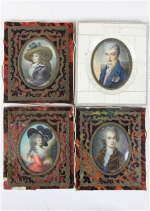 Four Early 20th c Miniature Portraits