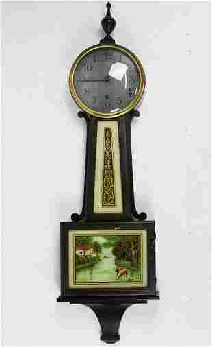 Early 20th c New Haven Clock Co Banjo Clock