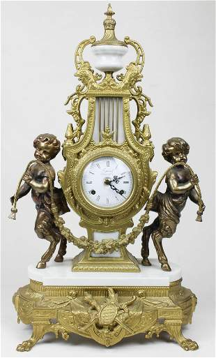 Large Figural Brass Garniture Clock