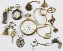 Group of pocket watches and watch thobs