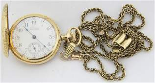 Waltham 14k y.g & diamond ladies pocket watch