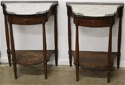 Pair of French Mahogany Marble Top End Tables