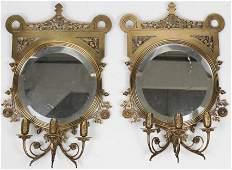 Pr of 20th c Gilt Brass Mirrored Wall Sconces