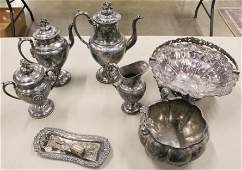 Victorian Silverplated Tea set and Accessories