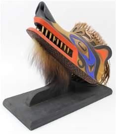 West Coast Inuit Carved Wolf Mask
