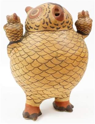 Zuni Pottery Owl Signed Nellie Bica