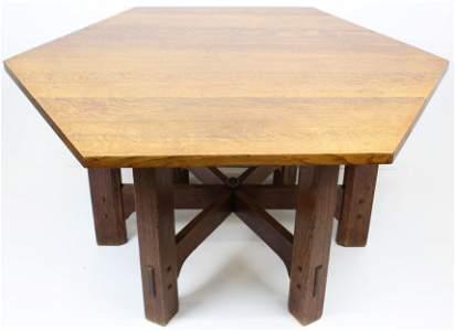Gustav Stickley Oak Hexagonal Library Table