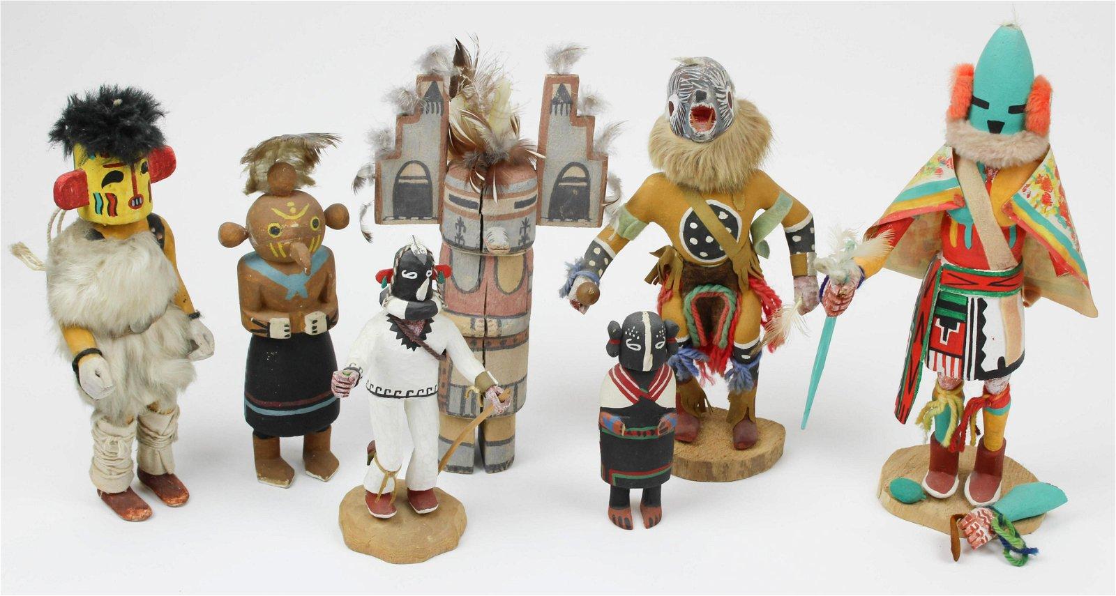 7 Native American Kachina Dolls