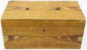 19th c grain paint decorated lock box